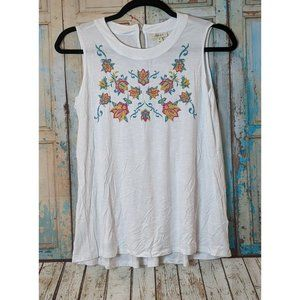 Style & Co Womens Plus 0X White Embroidered Floral Sleeveless Graphic Tank Top
